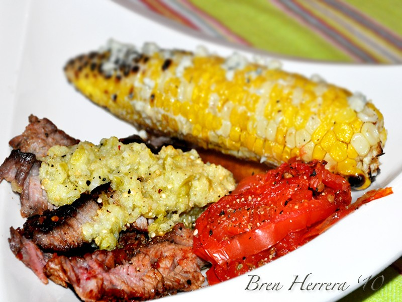 Grilledsteakforlatina Girl Meets Grill! And A Spicy Rub & Malta Marinated Rib Eye With Tomatillo Salsa 