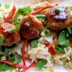 Spicy Meatballs on Slaw